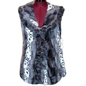 NEW DIRECTIONS FAUX FUR GREY BLACK WHITE VEST NWT